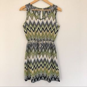 Printed Tank Dress with Tie Waist by Indulge S